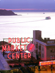 Pike Place Market and Elliot Bay