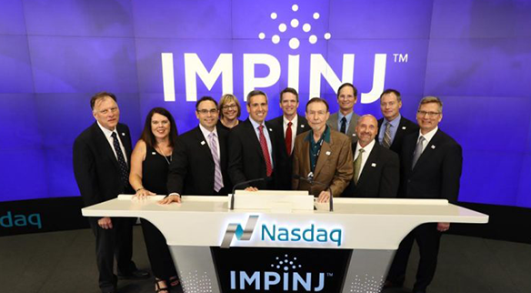 The Impinj team rings the closing bell at the Nasdaq on July 21, 2016
