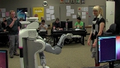 Students working with robot in class